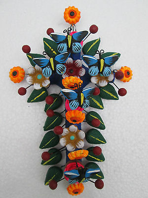 CLAY CROSS  100% handmade, colorful mexican folk art, tree of life style