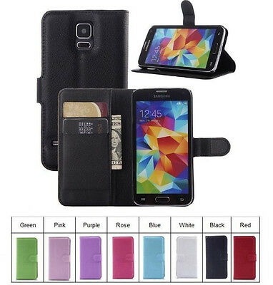 For Samsung Galaxy S5 & Neo Pouch Flip Cover Wallet PU Leather Phone Case