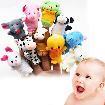 10Pcs Animal Family Finger Puppets Cloth Doll Baby Educational Toy Hand Cartoon