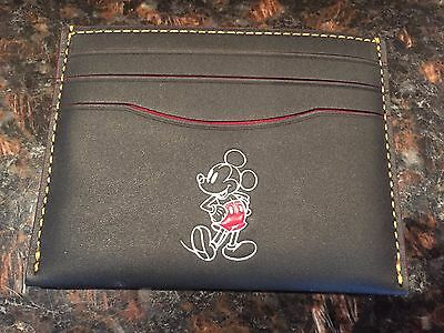 NWT Coach X Disney F58934 Slim Card Case/Holder in Black Leather Mickey Mouse