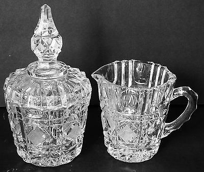 Vintage hand cut crystal sugar bowl with lid and creamer