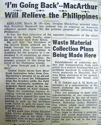 BEST 1942 WW II newspaper GEN MacARTHUR quote I SHALL RETURN  to The Philippines