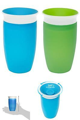 Miracle 360 Sippy Cup BPA 2 pack Green And Blue 10 Ounce 2 Count Toddler baby