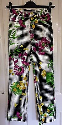 """VERSACE JEANS COUTURE Vintage 1990s Spotty Floral Trousers Size 27"""" 6/8"""