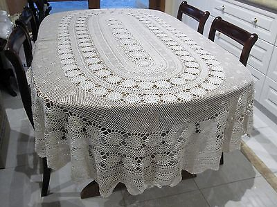 A Beautiful  LARGE OVAL Vintage Crochet  Tablecloth  ( 240 x 180 )