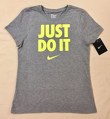 """Youth Girls 8+ Nike T-Shirt """"just Do It"""" Short Sleeves Gray AA1726-063"""