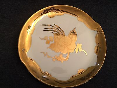 """VINTAGE W S GEORGE Decorative 6"""" Small Plate Gold Trim and Gold Flower"""