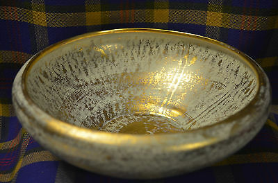 Pair of 2 Pieces of STANGL POTTERY Blue/Gold Bowl & Ashtray #3980 and 3977