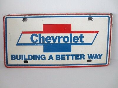 "Vintage CHEVROLET DEALER PROMO ""BUILDING A BETTER WAY"" LICENSE PLATE"