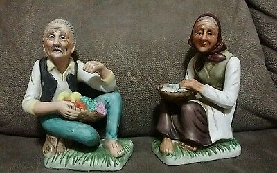 Antique Capademonte style  figures of old man and women, ceramic porcelain