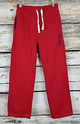 Nautica Jogger Sweat Pants Super Soft Boys M (10/12) Red Fleece Lined   F