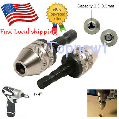 "1/4"" Keyless Drill Bit Chuck Hex Shank Adapter Converter Clamping 0.3-3.5mm US"