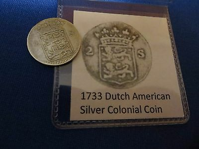 1733 Silver Early American Colonial Coin Before US Independence 284 Years Old