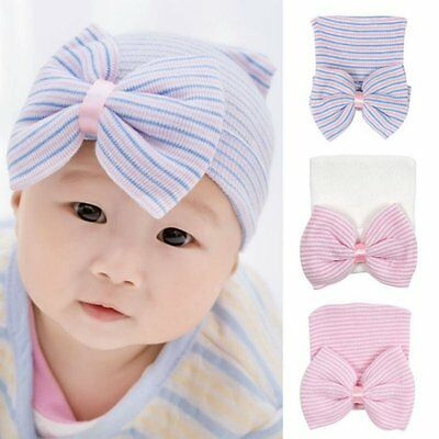 Infant Newborn Baby Girl Cute Bowknot Hat Striped Soft Warm Cap Toddler Hat