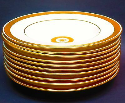 Set/10 Mintons for Tiffany & Co. New York Gold Etch Soup Plates/Bowls