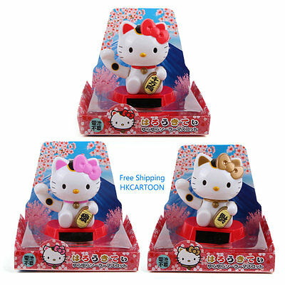 Japan Hello Kitty Energy Nohohon Solar Lucky Cat Doll- Swing Head & Hand