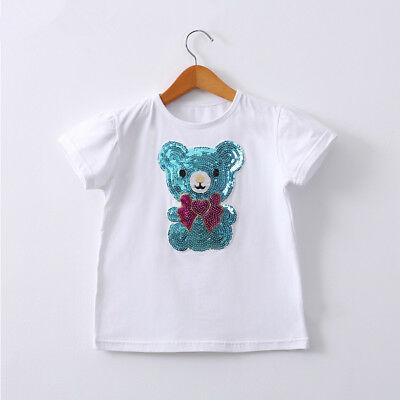 Girls Sequins White T-shirts Top Short Sleeves Blue/Pink Teddy Bear 2-6Y