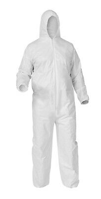 Case of 25 Disposable WHITE Microporous Coveralls Hood Zip Large