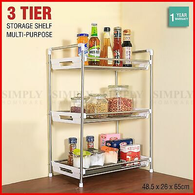 Kitchen Storage Rack Spice Bathroom 3 Tier Organiser Stainless Steel Shelf Jar