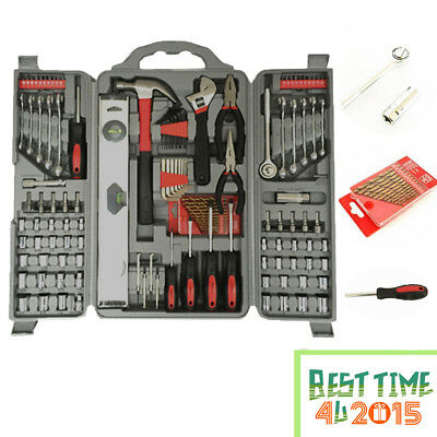 127Pcs Essential Tool Kit Set Socket Screwdriver Pliers Drill Hex Bit With Box