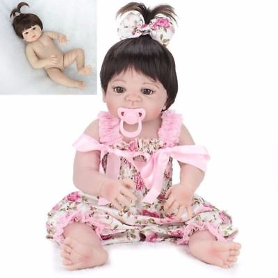 "22"" Lifelike Reborn Baby Doll Girl Full Body Vinyl Silicone Handmade Kids Toy"