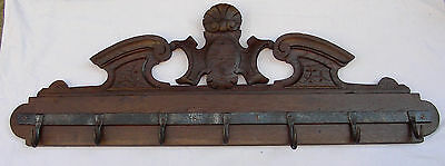 French antique rack hooks pediment Kitchen butcher Wrought iron wood oak