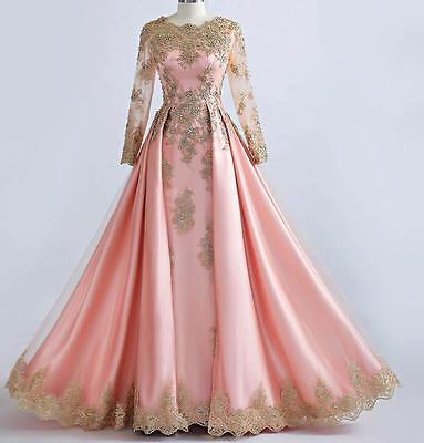 Pink Beaded Gold Lace Long Sleeve Muslim Evening Dresses Formal Prom Party Gown