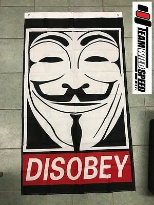 Ozzy Seller - Anonymous Vendetta Disobey Large Hanging Flag Workshop or Man Cave