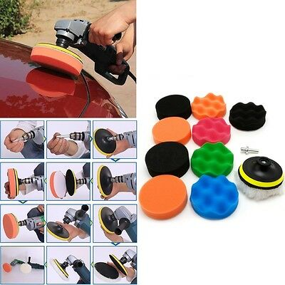 "11 Pcs 3/4/5/6/7"" Buffing Sponge Polishing Pad Kit Set For Car Polisher Buffer"