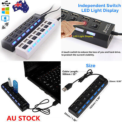7 Port USB 2.0 Multi Hub Splitter High Speed Adapter ON/OFF Switch Laptop PC