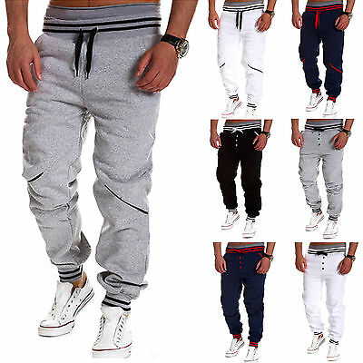 Men's Track Baggy Sweats Pants Casual Sports Jogger Harem Trousers Long Slacks