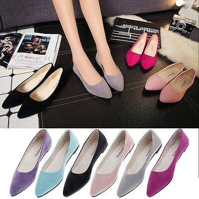 Women Suede Boat Shoes Casual Slip On Pointed Flats Shoes Loafers Ballet Shoes