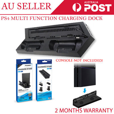 NEW 2 in 1 PS4 Cooler Charging Dock Station Vertical Stand USB Dual Cooling Fan