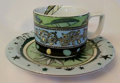 Bopla Porcelain Cup & Saucer Plume & Oasis Fountain Pen Birds Nest Teal