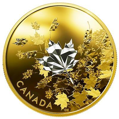 Kanada - 50 Dollar 2017 Whispering Maple Leaves 3 Unzen Silber PP teilvergoldet