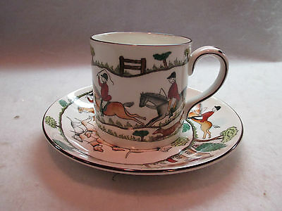 Crown Staffordshire HUNTING SCENE Demitasse Cup & Saucer  Fox Hounds England