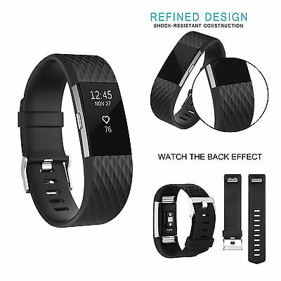 Fitbit Charge 2 Adjustable Replacement Fitness Wristband Size Strap Sport Black