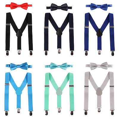 Baby Kids Boy 2PCS  Braces Suspenders Elasticated Adjustable Bowtie Outfit Set