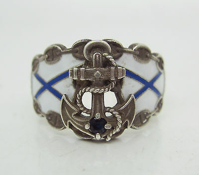 RUSSIAN IMPERIAL 88 SILVER ENAMEL NAVY  RING with SAPPHIRE 84
