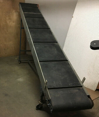 "154"" Long x 22"" wide cleated belt on 24"" galvanized frame incline conveyor."