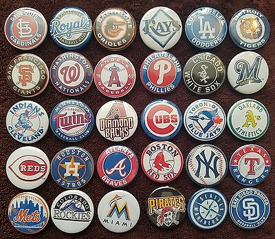 Major League Baseball MLB Button Badges x 30. Pins Wholesale Collector Bargain.