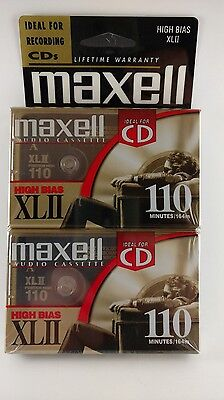 LOT of 2 Maxell HIGH BIAS XLII  CASSETTE TAPES SEALED 110 MIN