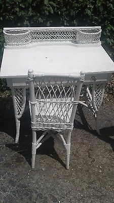 Wicker Desk with chair, White