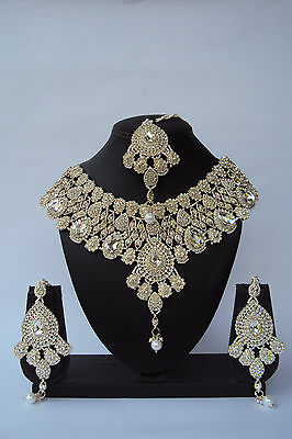 Indian Bollywood Ethnic Bridal White Wedding Fashion Jewelry Necklace Set