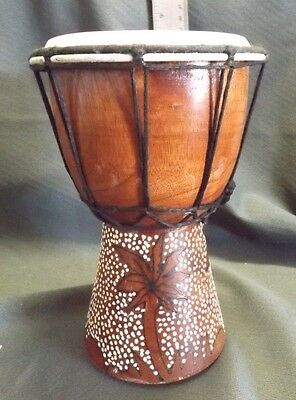"DECORATIVE Hand Made MAHOGANY WOOD 8"" Tall DJEMBE Bongo Drum EUC"