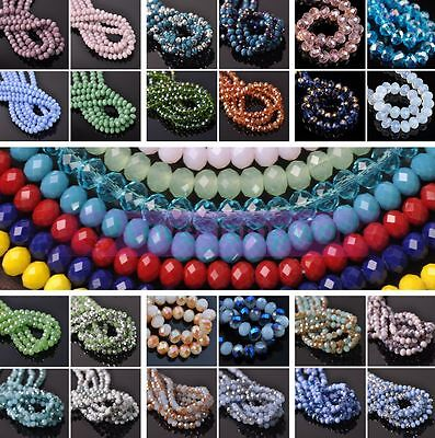 Wholesale 100pcs 6x4mm Crystal Glass Rondelle Faceted Loose Spacer Beads Lot