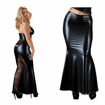 "Wetlook Rock lang Maxirock Damen Outfit Spitze Party Cocktail S M L XL ""Cara"""
