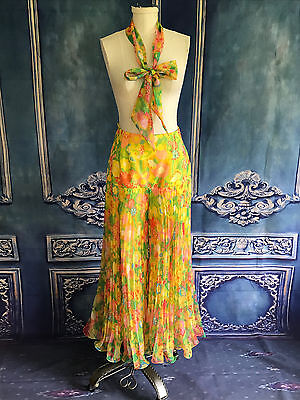 Vintage 1960's Wild Flower Power Fluted Palazzo Pants SMALL Yellow Scarf Chiffon