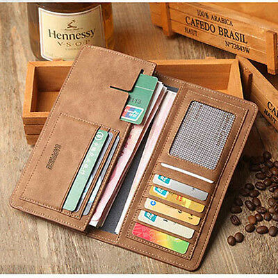 Men's Leather Bifold Card Holder Checkbook Slim Purse Wallet Pocket Billfold