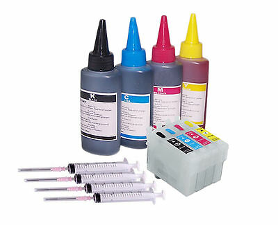 4 Refillable Non Oem Ink Cart KIT For EPSON XP-235 XP-342  XP-335 XP-435 XP-442